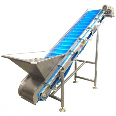 Hopper equipped Cleated Incline Conveyors